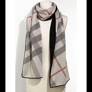Authentic Burberry Solid & Check Cashmere Scarf